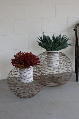 Copper Finish Wire Ball Planters w/ White Wash Pots
