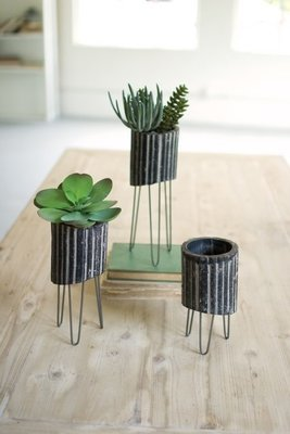 Black & White Clay Cylinders w/ Wire Baskets