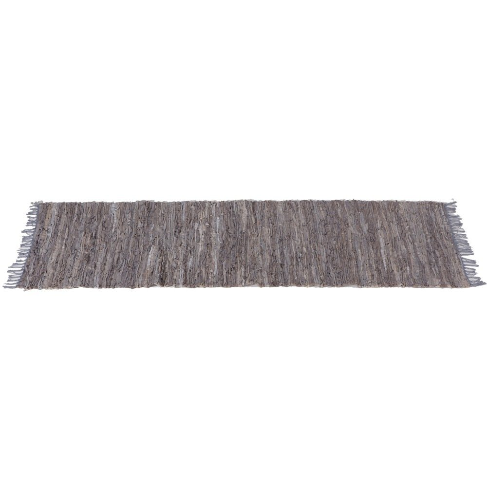 Grey Leather Chindi Hallway Rug