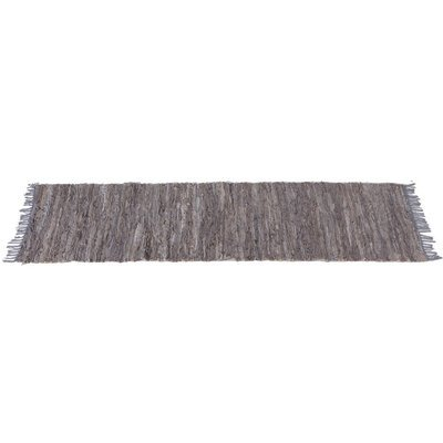 Grey Leather Chindi Hallway Rug