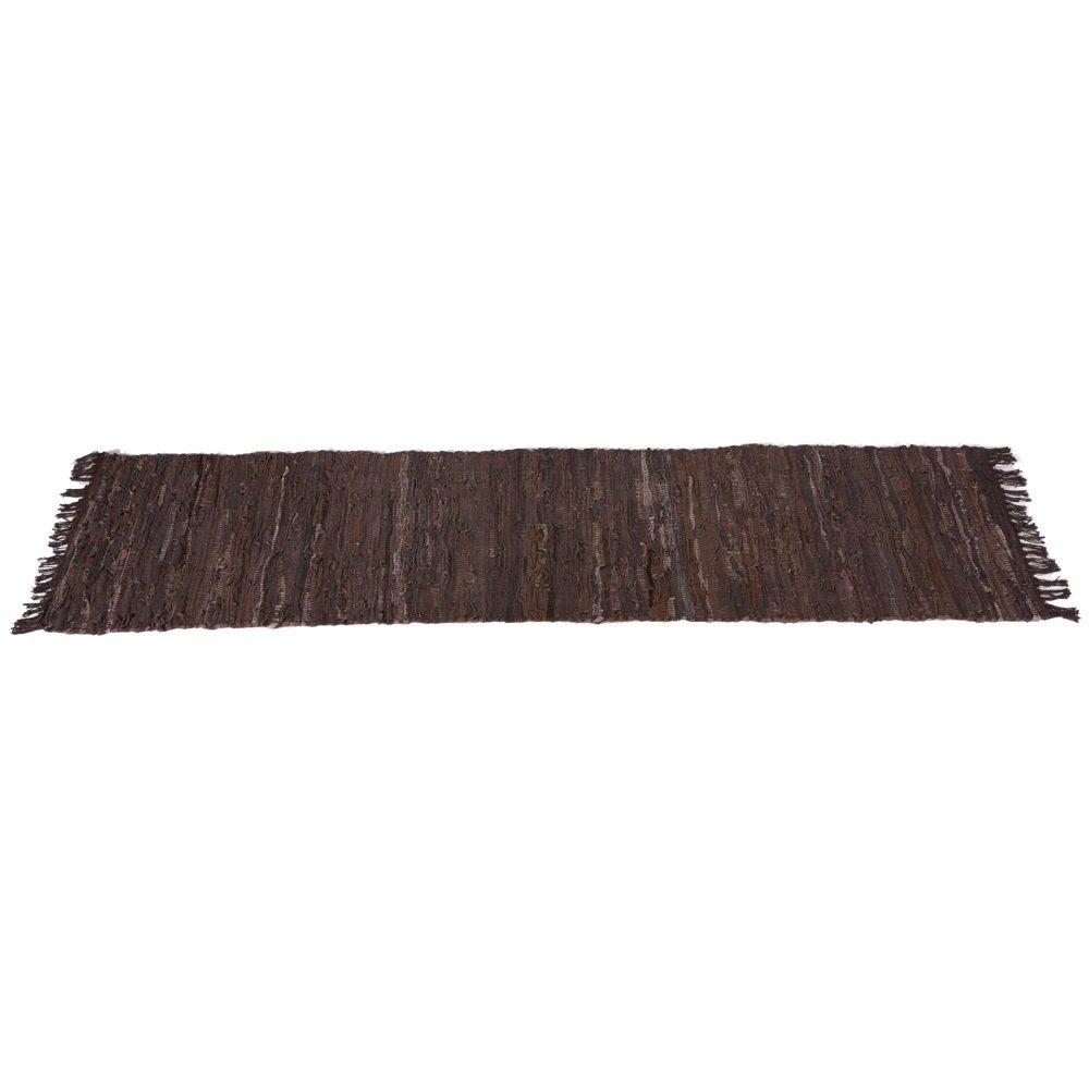 Brown & Black Leather Chindi Hallway Rug