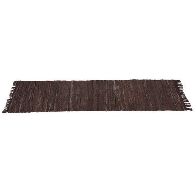 Brown & Black Leather Chindi Hallway Rug