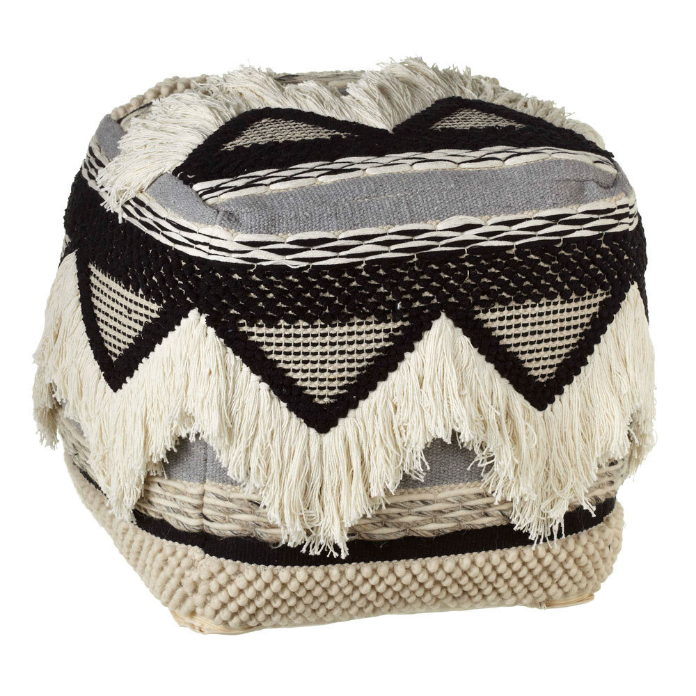 Hand Woven Black & White Triangle Pouf with Fringe