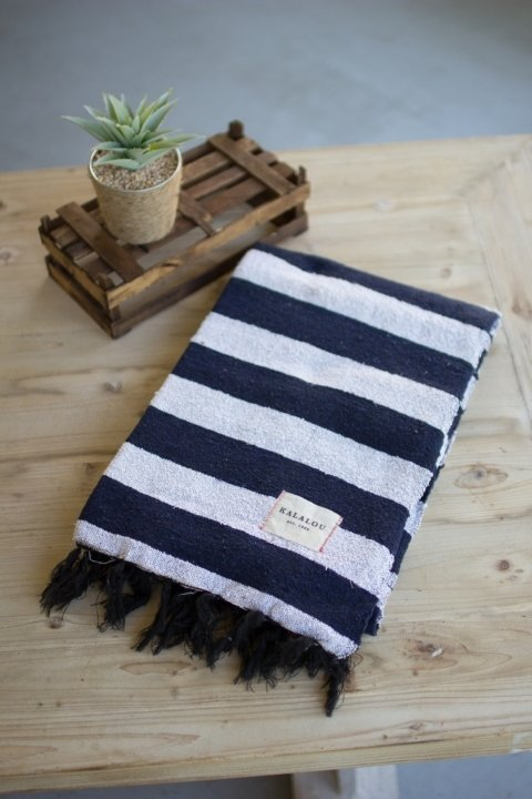 Blue & White Cotton Throw