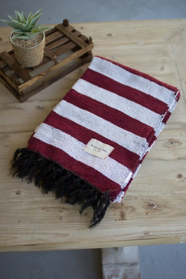 Maroon & White Cotton Throw Blanket
