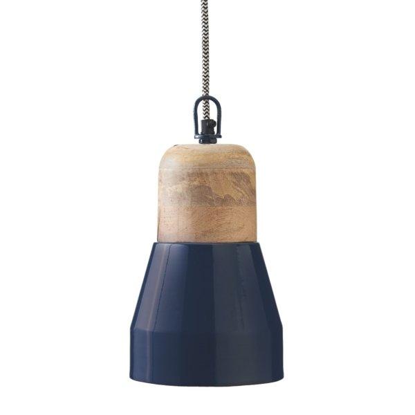 Indigo Blue & Wood Pendant