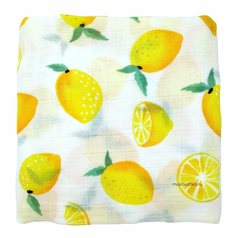 """Муслиновая пеленка """"Желтые лимоны"""" (бамбук/хлопок, 120х120см)"""