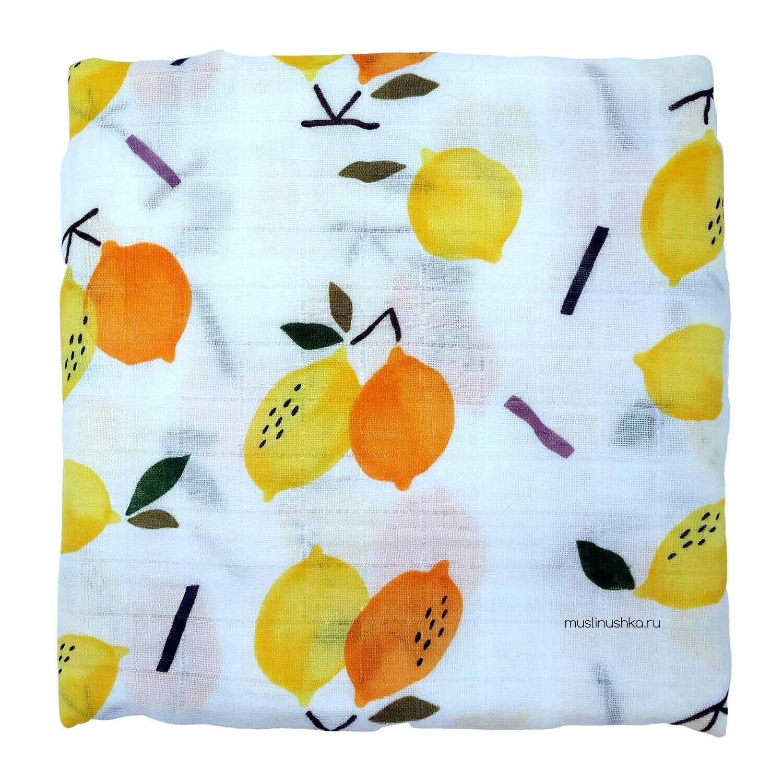 """Муслиновая пеленка """"Спелые лимоны"""" (бамбук/хлопок, 120х120см)"""