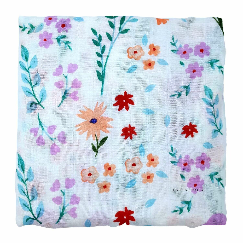 """Муслиновая пеленка """"Цветочная полянка"""" (бамбук/хлопок, 120х120см)"""