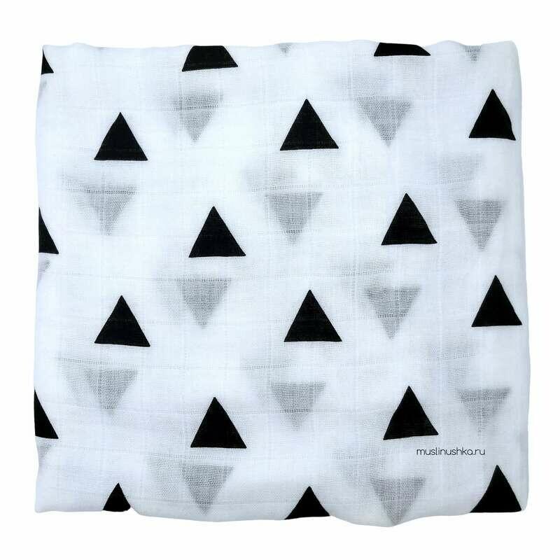 """Муслиновая пеленка """"Треугольники"""" (бамбук/хлопок, 120х120см)"""