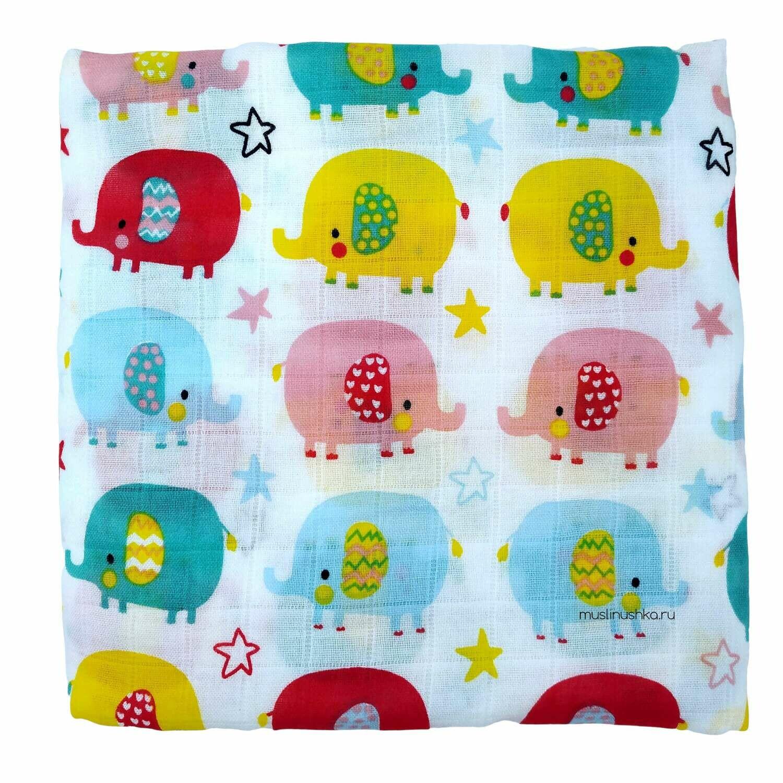 """Муслиновая пеленка """"Разноцветные слоники"""" (бамбук/хлопок, 120х120см)"""
