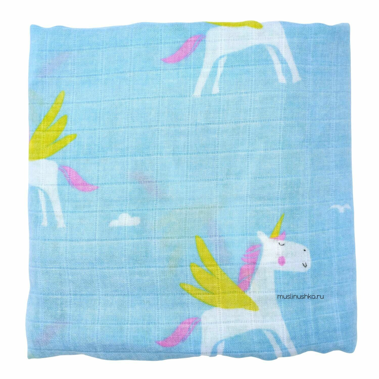 """Муслиновая пеленка """"Единороги на голубом"""" (бамбук/хлопок, 120х120см)"""