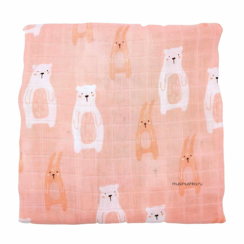"""Муслиновая пеленка """"Мишки и зайчики"""" (бамбук/хлопок, 120х120см)"""