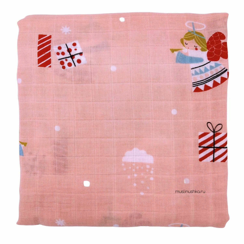 """Муслиновая пеленка """"Розовые феи"""" (бамбук/хлопок, 120х120см)"""