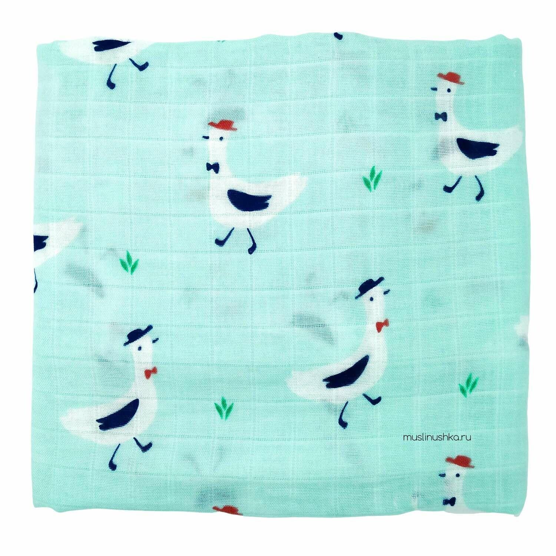 """Муслиновая пеленка """"Белые чайки"""" (бамбук/хлопок, 120х120см)"""