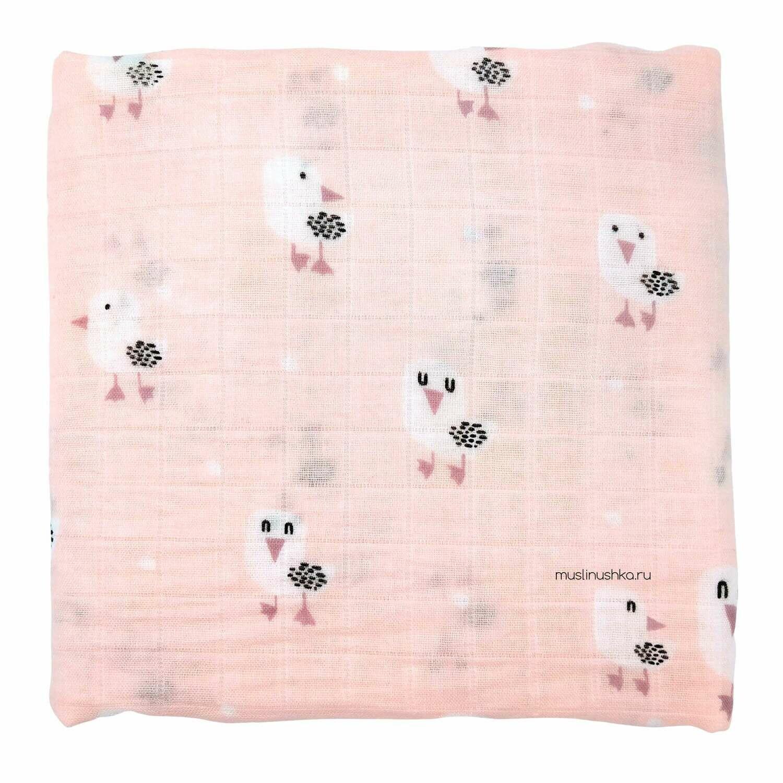 "Муслиновая пеленка ""Чайки на розовом"" (бамбук/хлопок, 120х120см)"