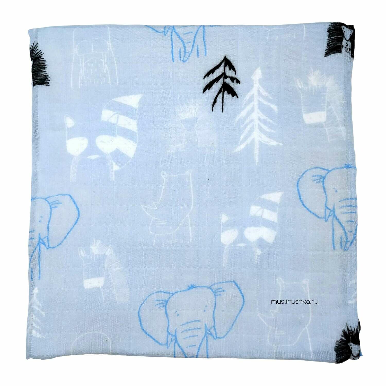 """Муслиновая пеленка """"Голубая Африка"""" (бамбук/хлопок, 120х120см)"""