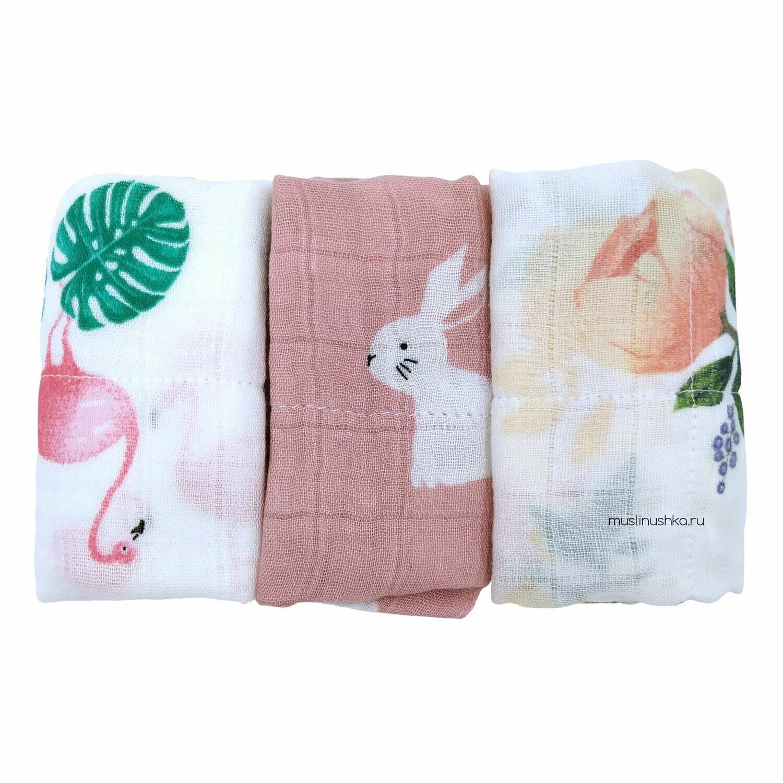 Платочки муслиновые (к-т для девочек, 3 шт, бамбук/хлопок)
