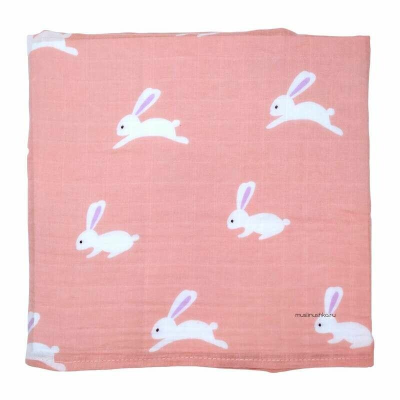 "Муслиновая пеленка ""Зайчики на розовом"" (бамбук/хлопок, 120х120см)"