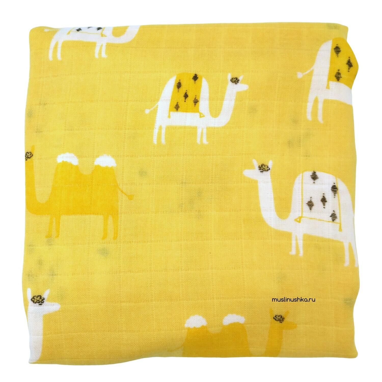 """Муслиновая пеленка """"Верблюды в пустыне"""" (бамбук/хлопок, 120х120см)"""