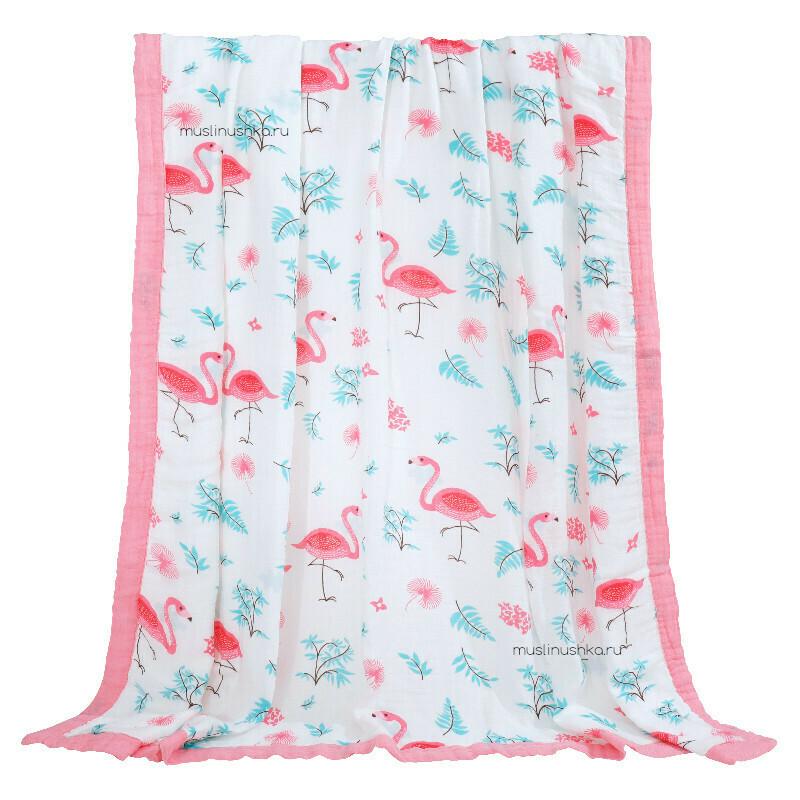 "Муслиновое одеяло ""Фламинго"" (бамбук/хлопок, 6 слоев, 120х120см)"