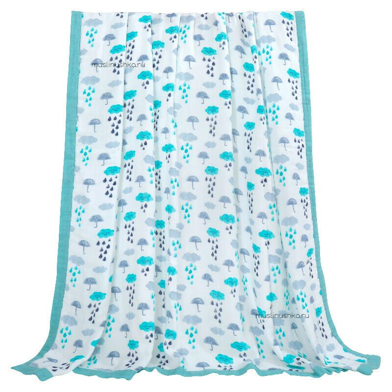 """Муслиновое одеяло """"Летний дождик"""" (бамбук/хлопок, 6 слоев, 120х120см)"""