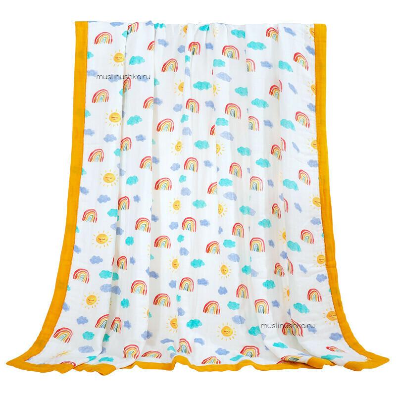 """Муслиновое одеяло """"Радуги"""" (бамбук/хлопок, 6 слоев, 120х120см)"""
