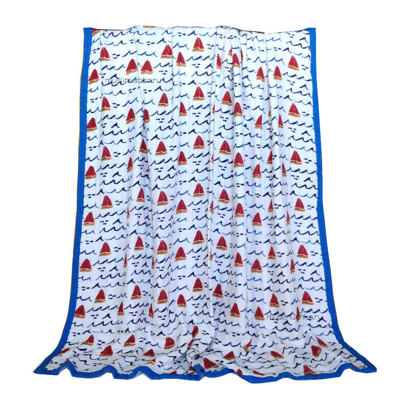 "Муслиновое одеяло ""Лодочки"" (бамбук/хлопок, 6 слоев, 120х120см)"