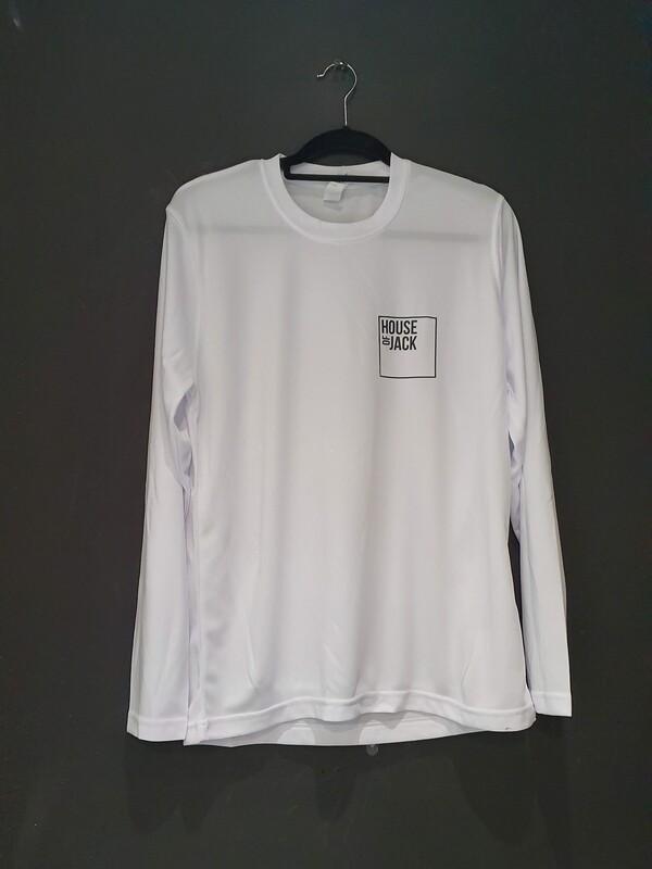 White long-sleeve sports tee