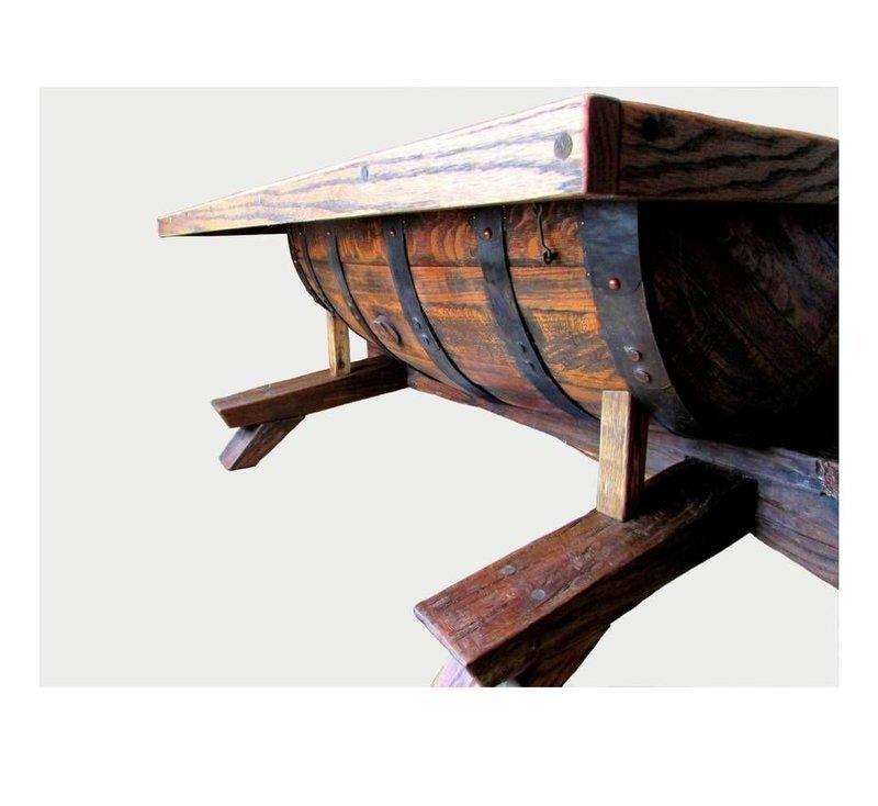 Rustic oak barrel coffee table