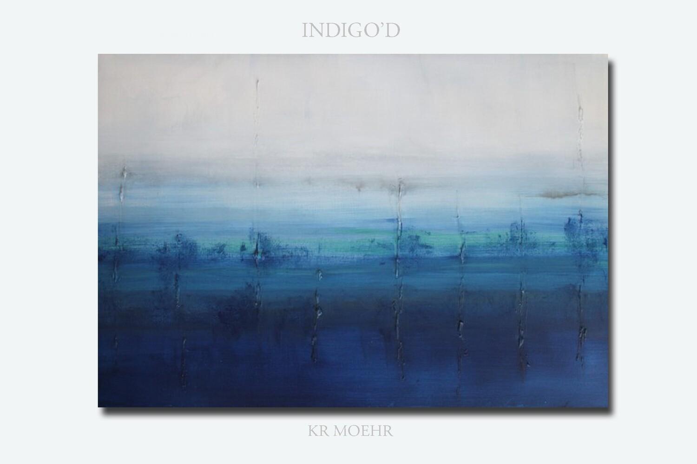 Living Room Wall Art | Blue Canvas Abstract Art Print Giclee | Modern Decor