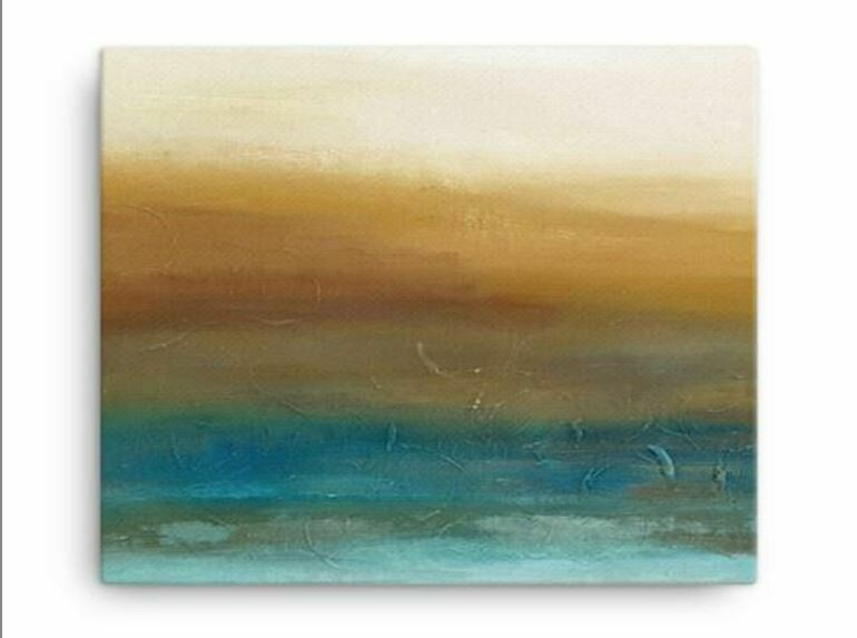 Warm Colors Abstract Landscape Wall Art Prints |  Earth Tone Contemporary Canvas Giclee | Ready to Hang