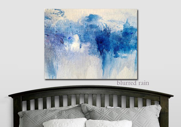 Abstract Wall Art Print | Blue White Modern Canvas Giclee | Free Shipping