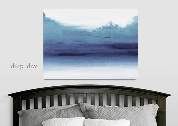 Minimalist Abstract Art Print - Modern Water Landscape