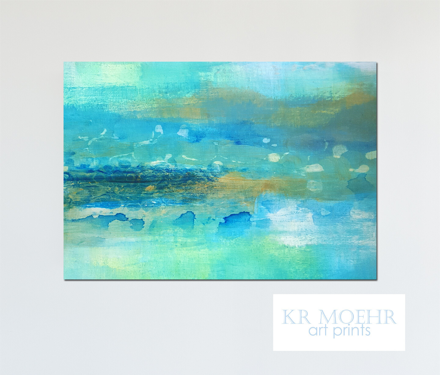 Wall Art Prints - Abstract Blue Green - Ready to Hang Canvas