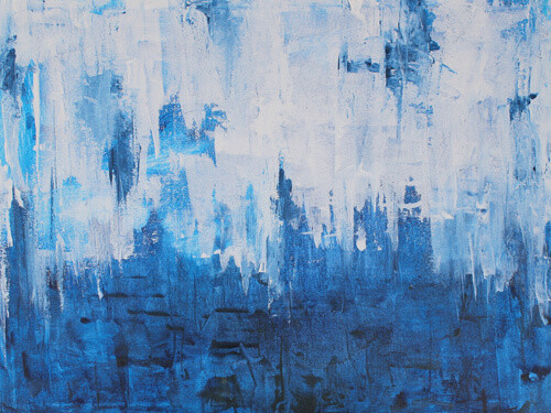 Modern Blue White Abstract Canvas Art Painting