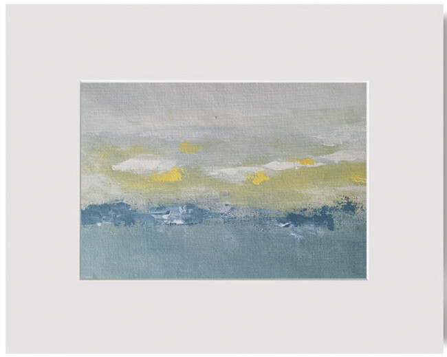 Modern Abstract Landscape Grey Yellow Matted Original Art Painting