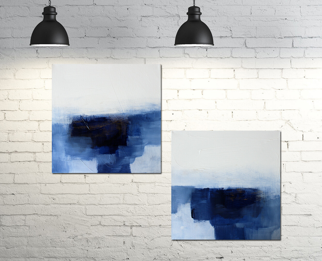 Blue Modern Abstract Original Canvas Art Prints - Diptych - Set
