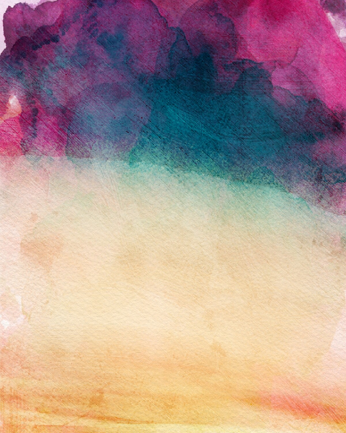 WATERCOLOR SUNSET Abstract Modern Watercolor Art Print
