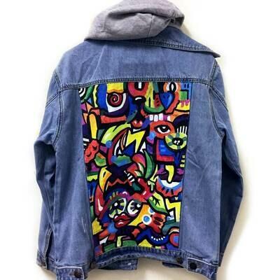 Hoodie Painted Jean Jacket