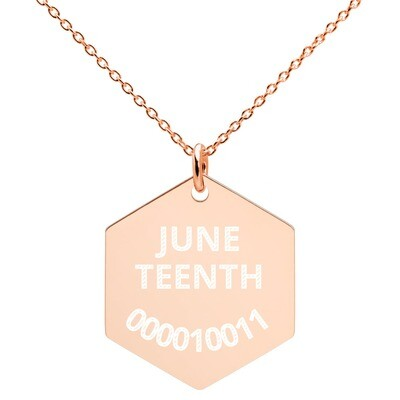 Juneteenth Binary Numbers Engraved Hexagon Necklace
