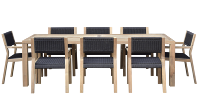 Malibu Teak & Rope Dining Set for 8