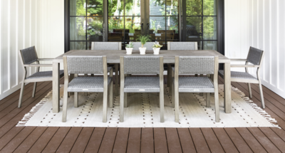 Fiji Teak & Rope Dining Set for 8