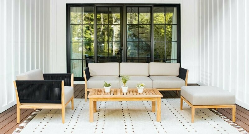 Malibu Teak & Rope Outdoor Sofa Set