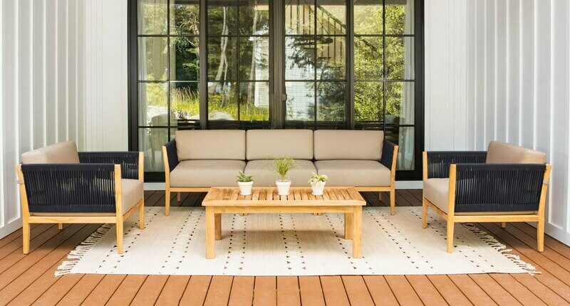 Malibu Teak & Rope Sofa Club Set