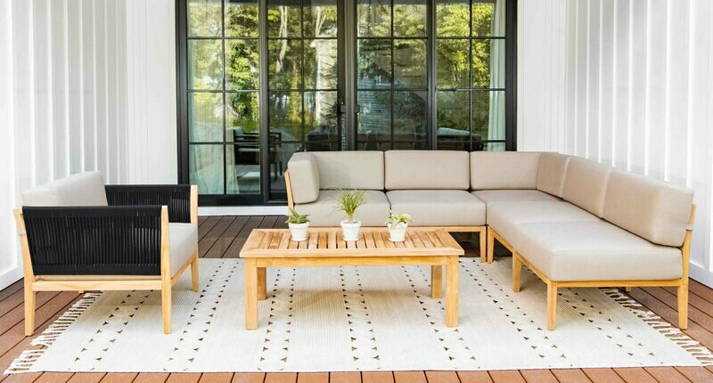 Malibu Teak & Rope Sectional Set