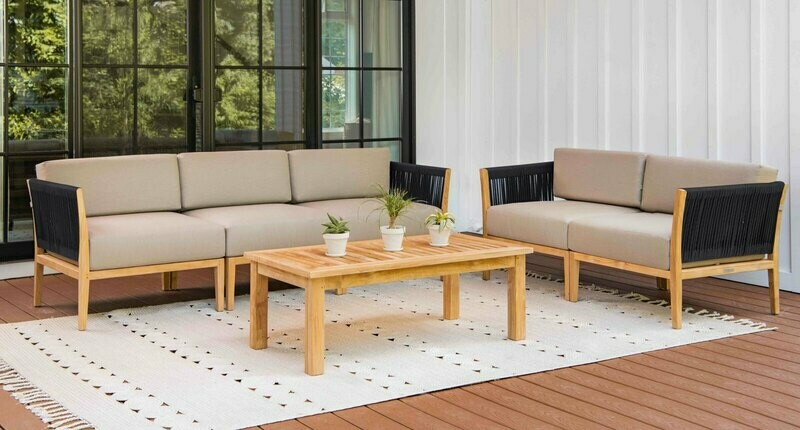 Malibu Teak & Rope Sofa & Loveseat Set