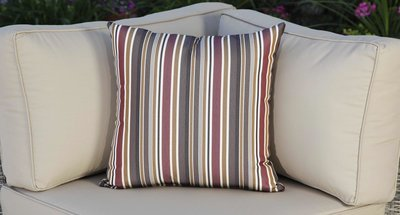 Outdoor Throw Pillow - Red Striped