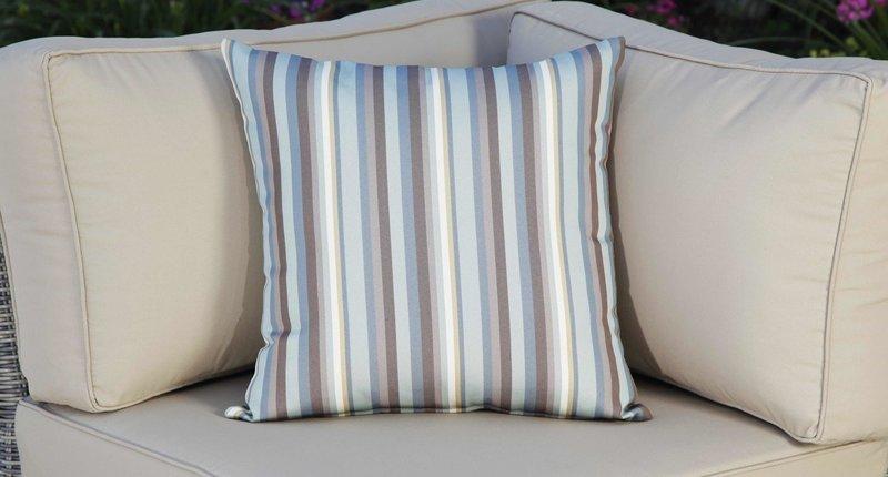 Outdoor Throw Pillow - Blue Striped