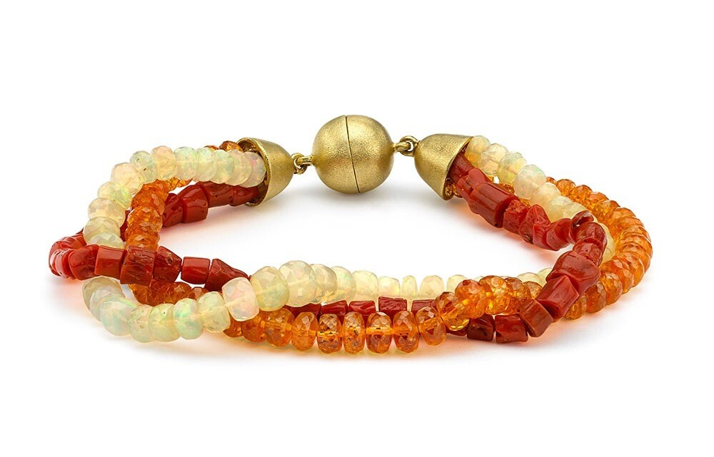 Garnet, Coral & Opal beaded bracelet